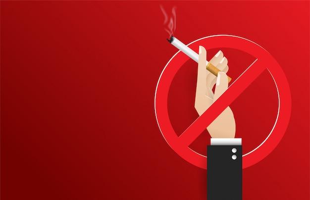 タバコを持っている手。ベクトルの概念図のない喫煙日の世界。たばこの日 Premiumベクター
