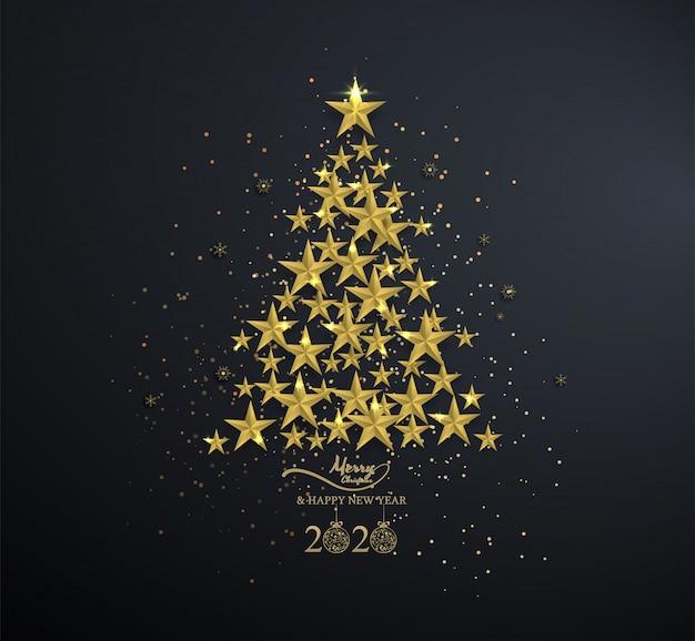 黒の雪の結晶をクリスマスツリーにゴールデンスター Premiumベクター
