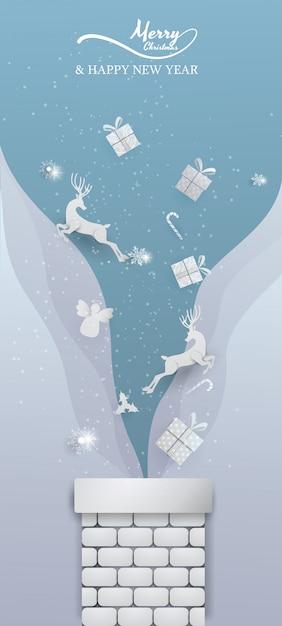 Белые олени, дед мороз, снежинка и украшения прыгают с дымохода синим знаменем Premium векторы