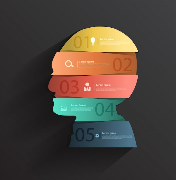 数字のバナーを備えた創造的な頭 Premiumベクター