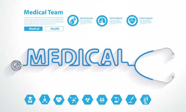 創造的な医療テキストデザインとベクトル聴診器の心 Premiumベクター