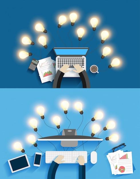 創造的な電球のアイデアを持つコンピュータ上で働くベクトル Premiumベクター