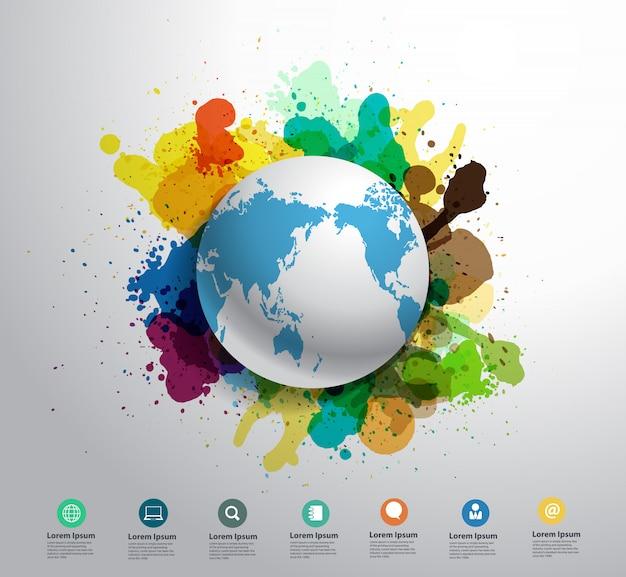 水彩スプラッタとベクトル地球の創造性の概念 Premiumベクター