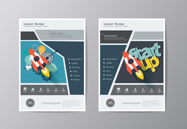 Годовой отчет листовка брошюра шаблон флаера Premium векторы