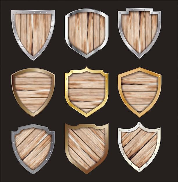 Вектор деревянный и металлический щит защищен стальной значок знак Premium векторы