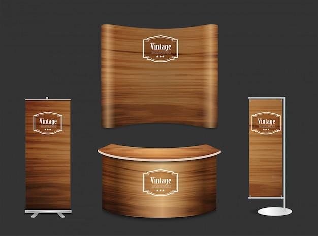 Пустой выставочный стенд выставочный стенд текстура древесины фон Premium векторы