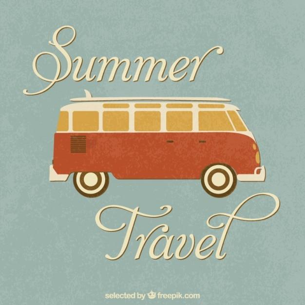 レトロな夏の旅行 無料ベクター