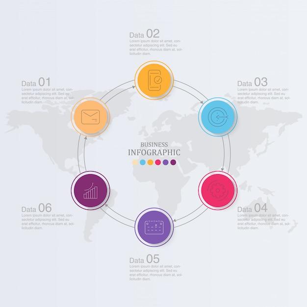 サークルインフォグラフィックデザインとアイコン Premiumベクター