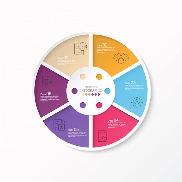 サークルインフォグラフィックとアイコン Premiumベクター