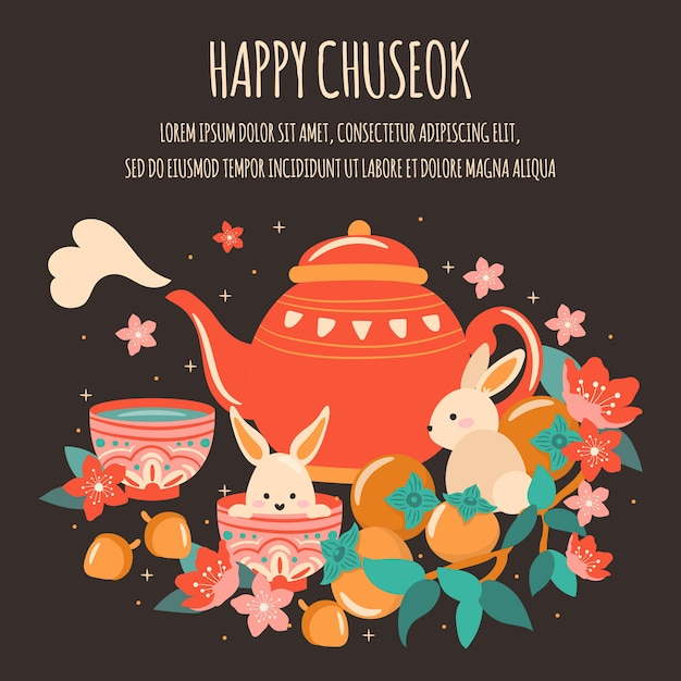 秋夕/ハンガウィフェスティバル中旬の秋祭り、かわいいティーポット、ムーンケーキ、ランタン、アクロン、ウサギ、竹、桜の花、アプリコット Premiumベクター