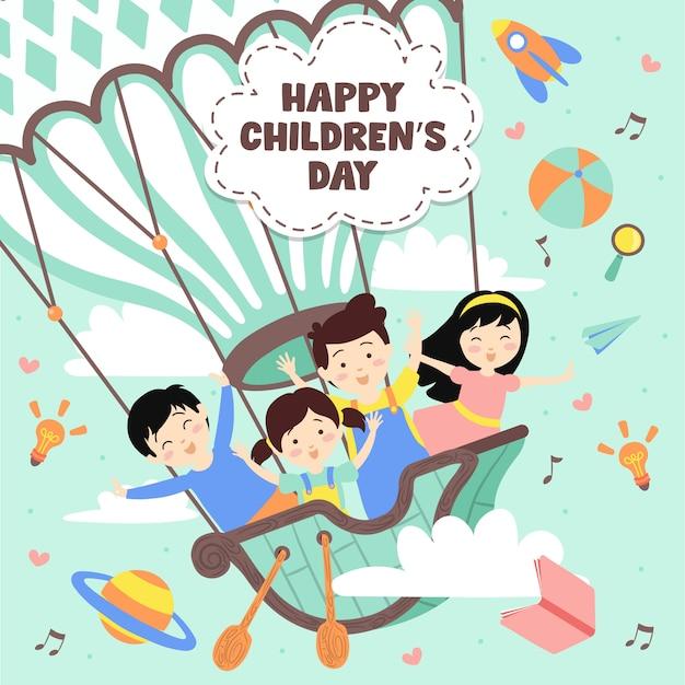熱気球での幸せな子供の日 Premiumベクター