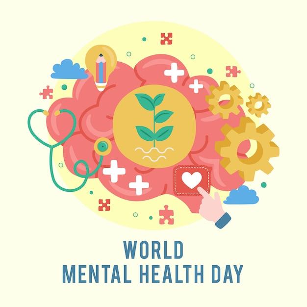 世界精神保健デー。精神的な成長。あなたの心をクリアします。前向きな思考 Premiumベクター