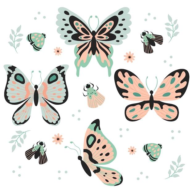 Ручной обращается бабочки, насекомые, цветы и растения бесшовные шаблон, изолированных на белом фоне Premium векторы