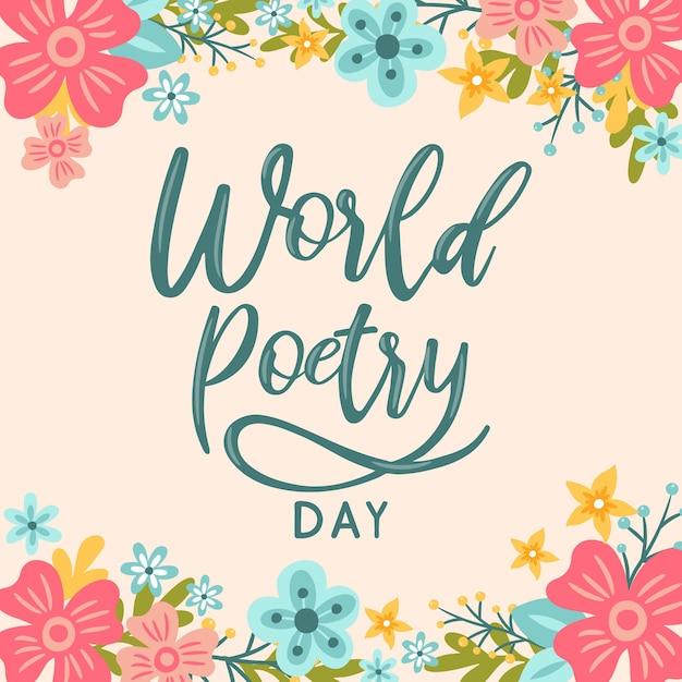 世界の詩の日の花の背景をレタリングの手 Premiumベクター
