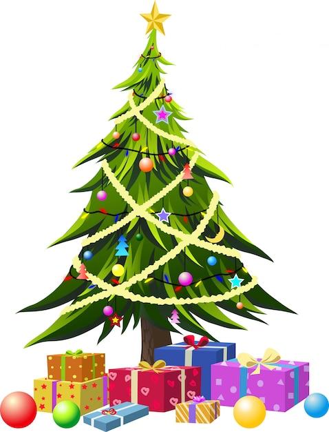 白い背景で隔離のクリスマスツリー Premiumベクター
