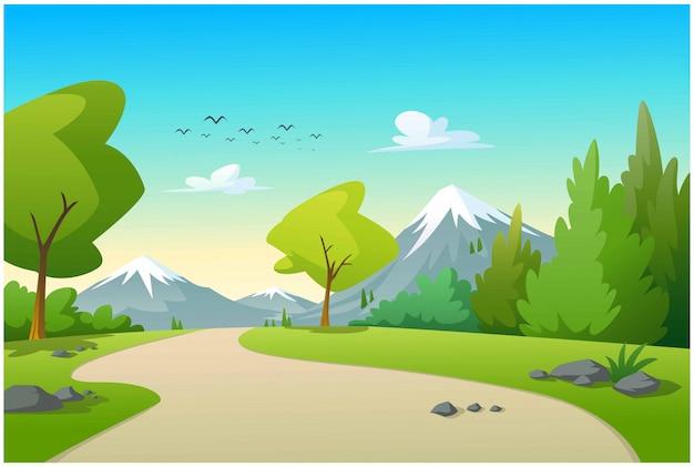 朝の山と木々の眺め Premiumベクター