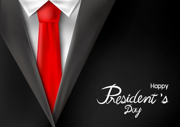 赤いネクタイとスーツの大統領の日のデザイン Premiumベクター