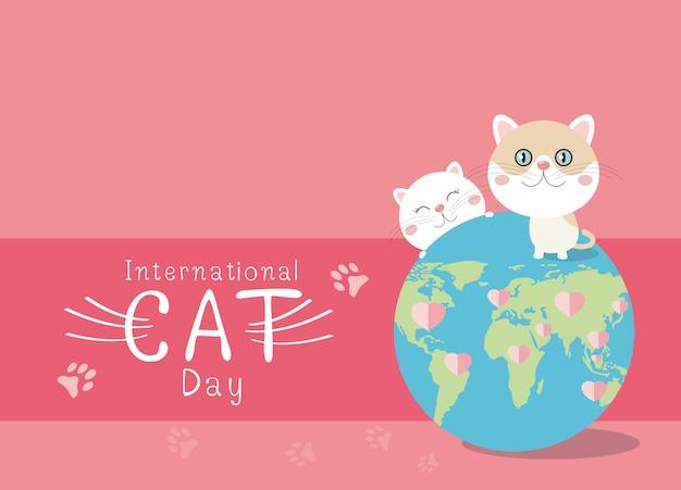 ピンクの背景の国際猫の日デザイン Premiumベクター