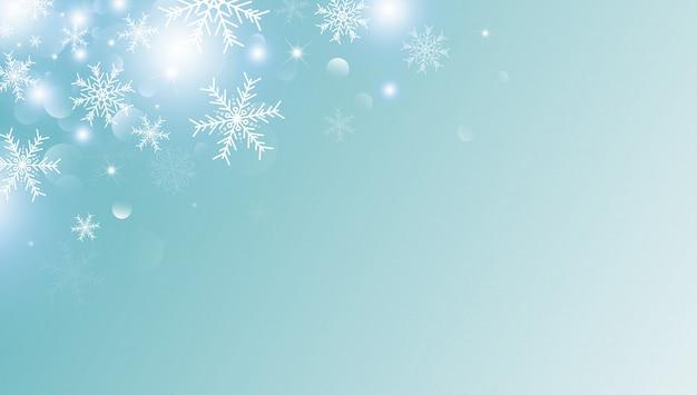 白い雪の結晶と雪のクリスマスの背景 Premiumベクター