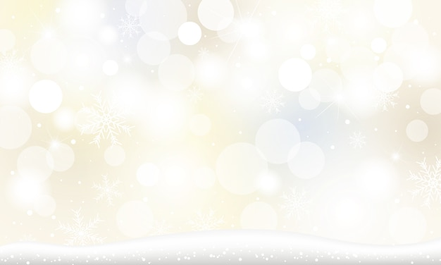 雪の結晶と冬のボケライトで落ちる雪のクリスマス背景 Premiumベクター