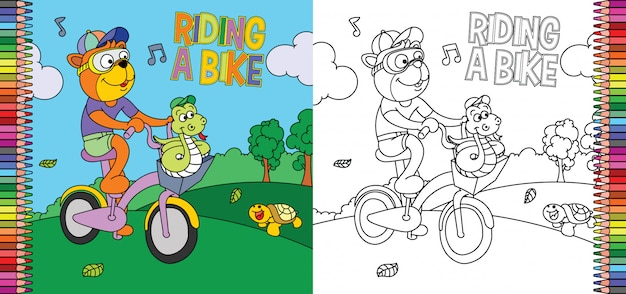 公園で蛇と自転車に乗る虎の着色のページ Premiumベクター