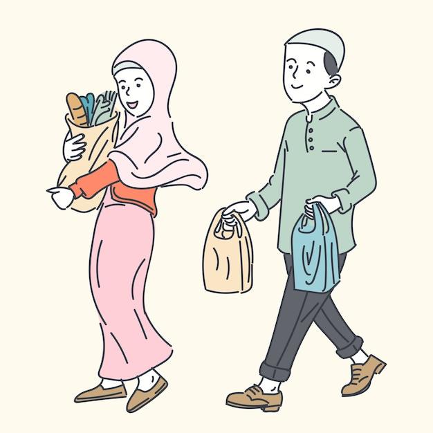 幸せなイスラム教徒の家族、シンプルなライン漫画イラスト Premiumベクター
