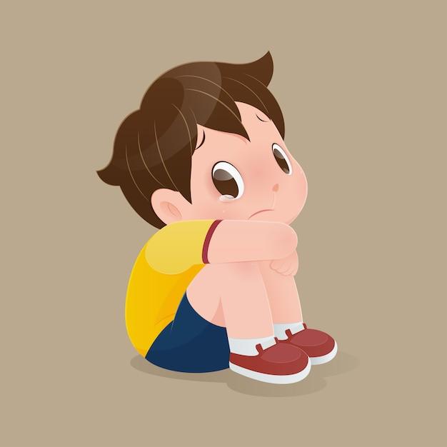 床に泣いて座っている男の子のイラスト。 Premiumベクター