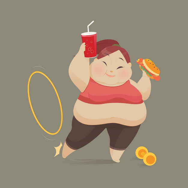 Молодая женщина ест кусок фаст-фуд, женщины отказываются осуществлять, векторная иллюстрация Premium векторы