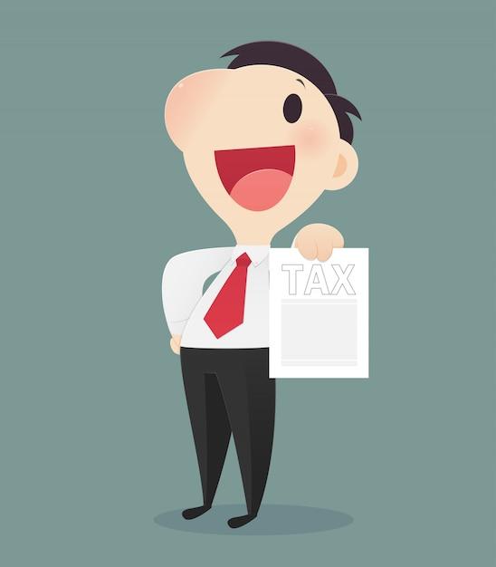 税務フォームを保持している漫画のビジネスマン、税務文書を持っている文字の男の手、ベクターアートイラスト Premiumベクター