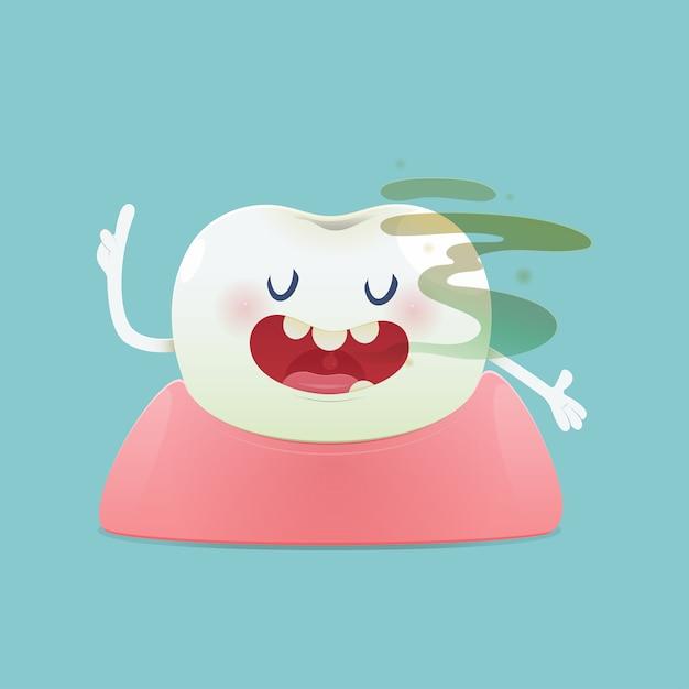 Галитоз концепция мультяшного зуба с неприятным запахом изо рта Premium векторы