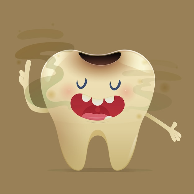 Галитоз иллюстрация с мультяшный зуб с неприятным запахом изо рта Premium векторы