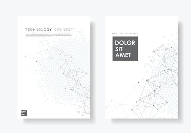 Абстрактный постер со связанными линиями и точками Premium векторы