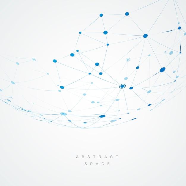 青い複合線とドットで抽象的なデザイン Premiumベクター