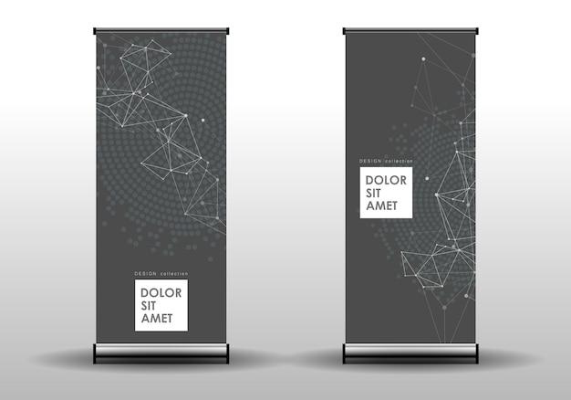 接続された直線と点と抽象的な幾何学的な背景。技術バナーカバー Premiumベクター