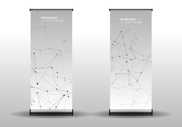 抽象的なカバーテンプレート接続されたラインとドットでモダンな幾何学的な背景 Premiumベクター