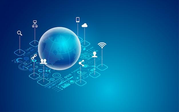 Глобальные технологии Premium векторы