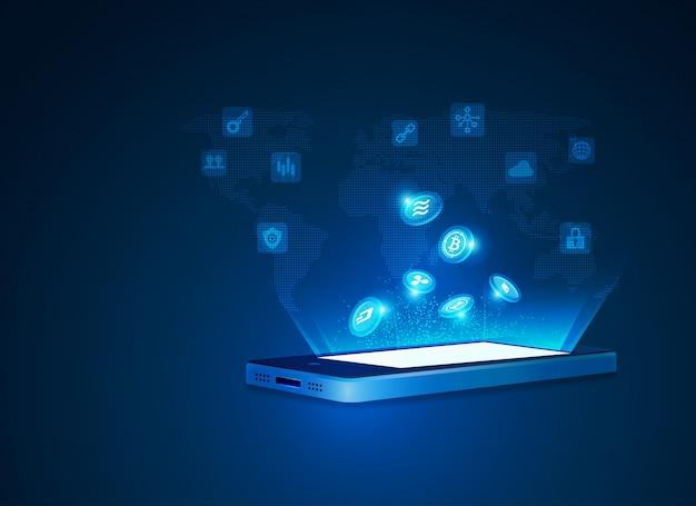 暗号通貨とモバイル技術の概念 Premiumベクター