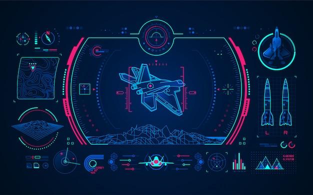 Интерфейс цифровой технологии воздушного истребителя Premium векторы