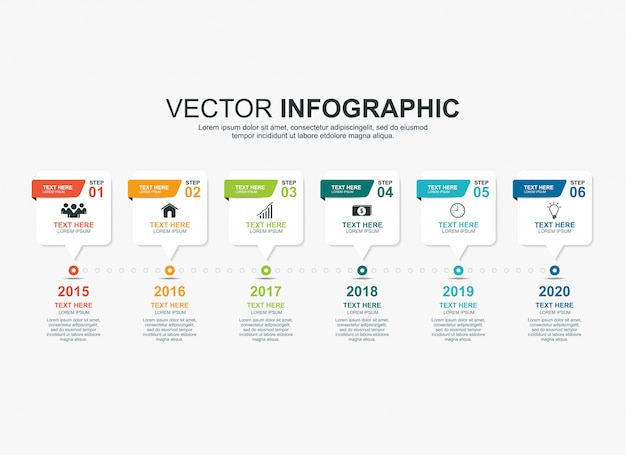 インフォグラフィックタイムラインプロセスチャートテンプレート Premiumベクター