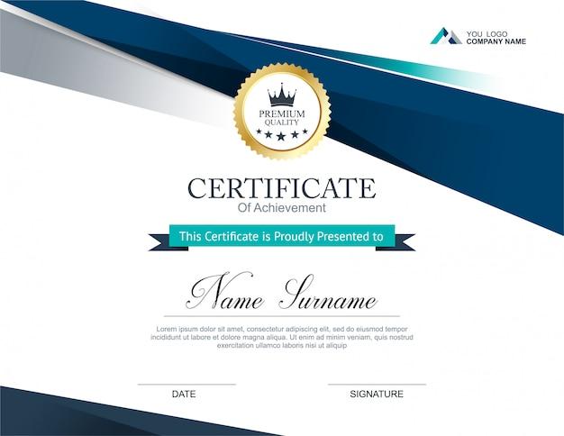 証明書のデザインテンプレート Premiumベクター