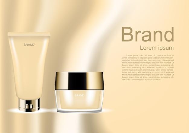 明るい抽象的な背景に化粧品セット Premiumベクター