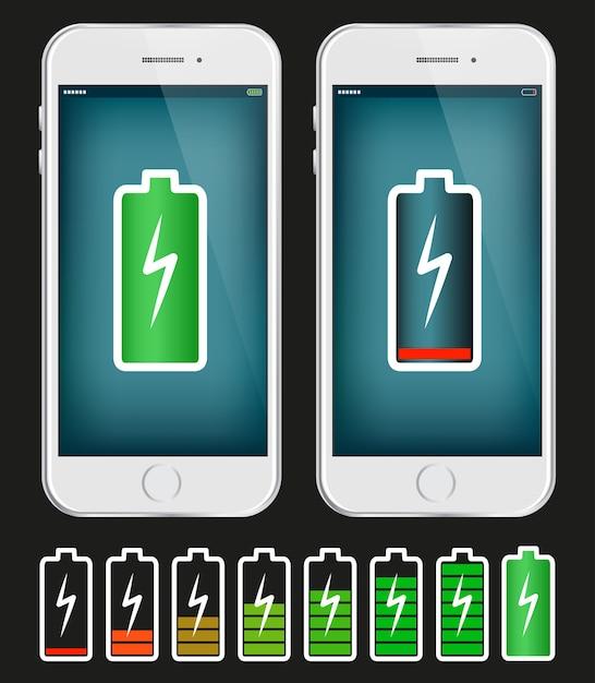 Мобильный телефон с низкой и полной батареей Premium векторы