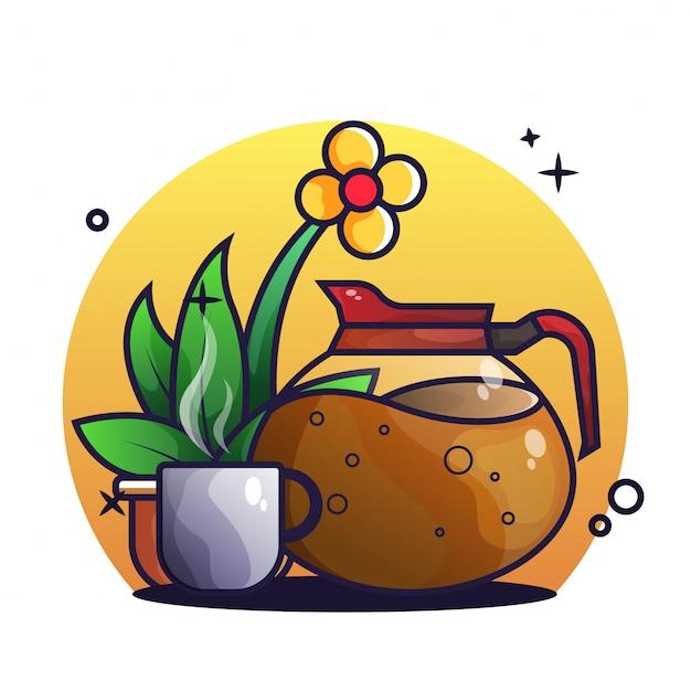 Кофеварка и кофейная чашка Premium векторы