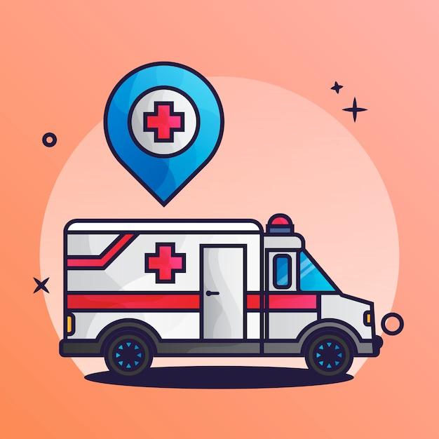 救急車の場所 Premiumベクター