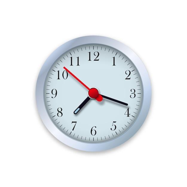 Реалистичная иллюстрация настенных часов. контролируйте время. Premium векторы
