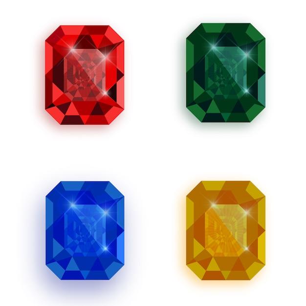 多色の宝石のセット。 Premiumベクター