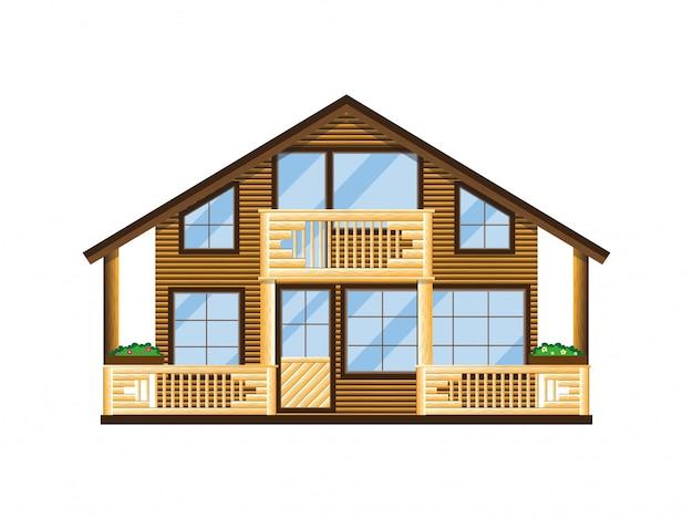 バルコニーとベランダ付きの木製家の外観。 Premiumベクター
