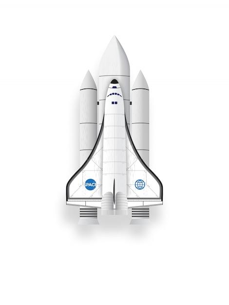 白い背景にスペースシャトル。 Premiumベクター