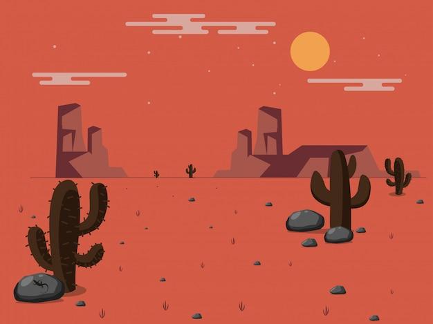 砂漠のベクトルイラスト。 Premiumベクター