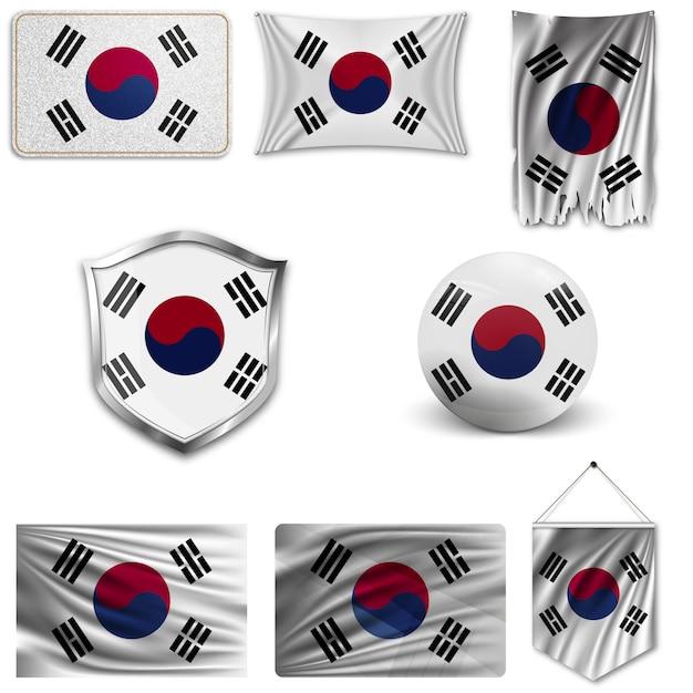 韓国の国旗のセット Premiumベクター